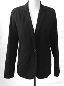 Mossimo-Womens-Blazer-Jacket-Black-Lined-Career-Work-Size-Small-S