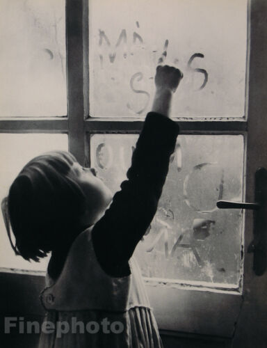 1935 Vintage 16x20 CUTE CHILD WINDOW WRITING Czechoslovakia Photo MARIE GOTTLIEB