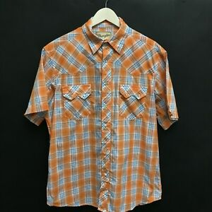 Mens-Large-WRANGLER-Western-Pearl-Snap-Shirt-Short-Sleeve-Orange-Plaid-15c