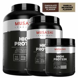 MUSASHI High Protein Powder P30 Choose 375g 900g 2KG & Chocolate OR Vanilla