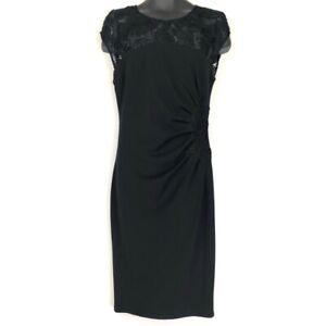 Hale-Bob-Womens-Midi-Sheath-Dress-Black-Crew-Cap-Sleeve-Crochet-Keyhole-Zip-L