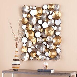 Mixed Metal Wall Art Sculpture 3 D Silver Gold Round Mirrors