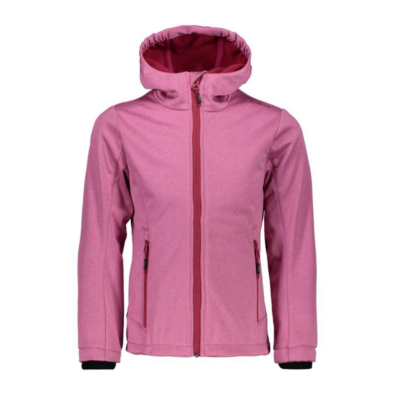 Flight Tracker Cmp Softshell Jacket Girl Jacket Fix Hood Pink Windproof Waterproof Mottled