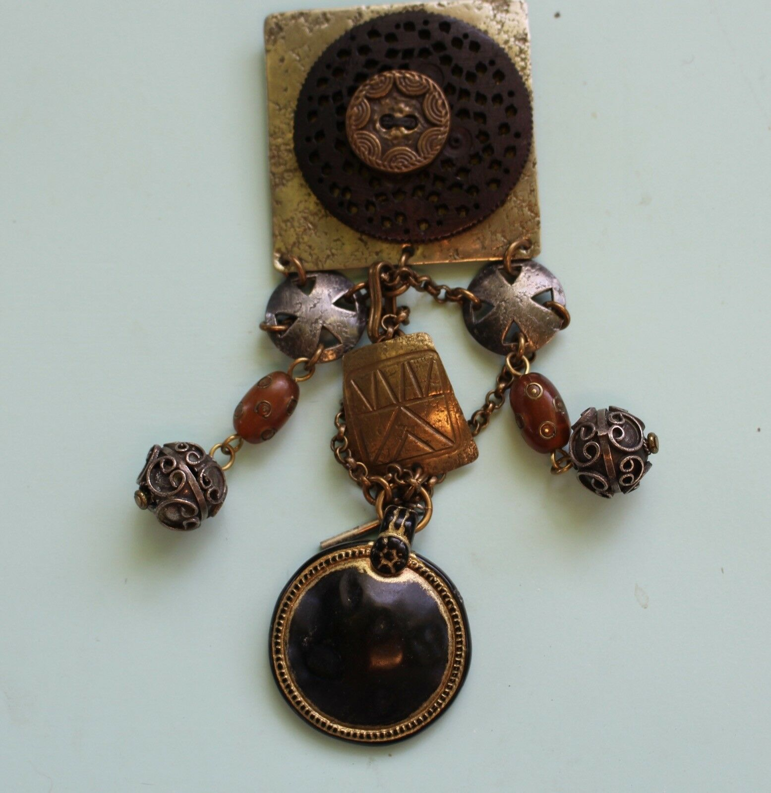 Rare Vintage Marjorie Baer SF Pin Dangle Brooch Signed Designer Costume Jewelry