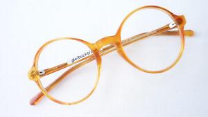 Oldschool-Brille-Gestell-Plastik-Oberlehrer-hell-braun-rund-oval-klein-Groesse-S