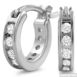 Image Is Loading White Gold Finish 1 Row Iced Cz Mini