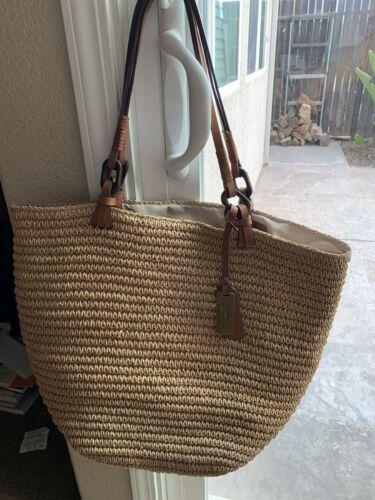 Lauren Ralph Lauren Tolton Crochet Straw/Leather L