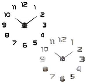 Wanduhr-Grosse-3D-Wand-Uhr-Ziffern-XL-XXL-Spiegeluhr-80cm-120cm-Gross-Tattoo