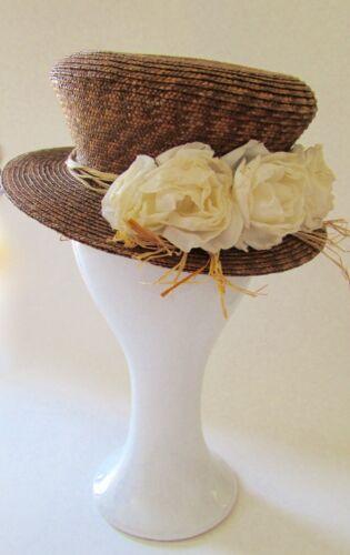 Carol Carr Palm Beach Straw Roses Floral Hat Sz S