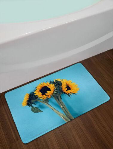 Tela Impermeable Baño Cortina de ducha conjunto azul fondo ramo Girasoles