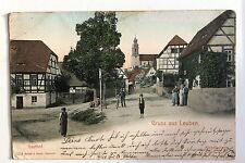 24224 AK Gruß aus Leuben Gasthof Dorfstraße 1902 bei Meißen Riesa Schleinitz