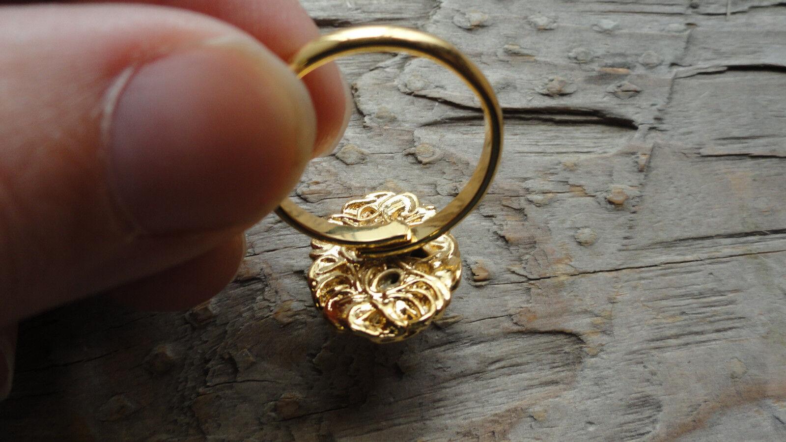 Pendant Bell Antique Hamilton Gold Plated Lacy Bezel Mount 8x10mm pkg 3 0345