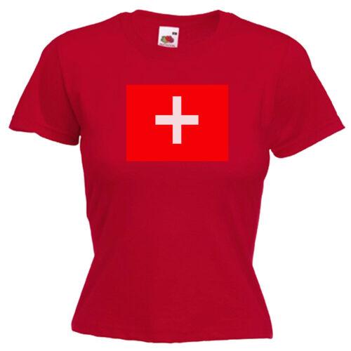 Switzerland Flag Ladies Womens Lady Fit T Shirt