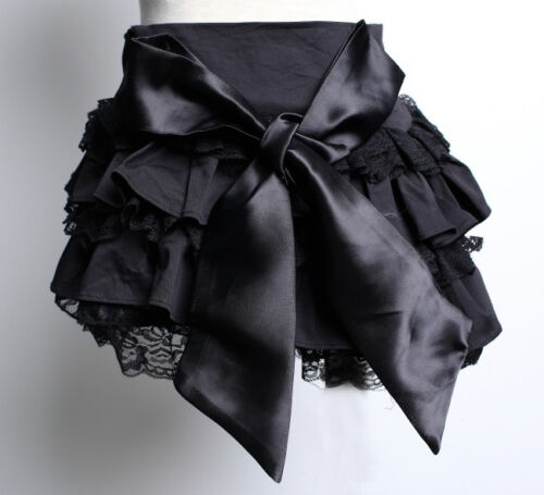 Gothic Lolita Black Mini Skirt with Lace, Frills & Bow Pentagramme J020031