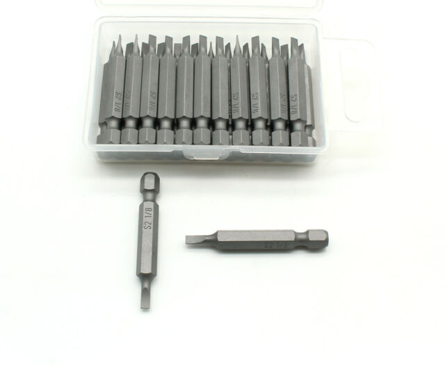 """TEMO 25pc 1//8/"""" Slotted  Flat Head 2 Inch Impact Ready Screwdriver Insert Bits"""