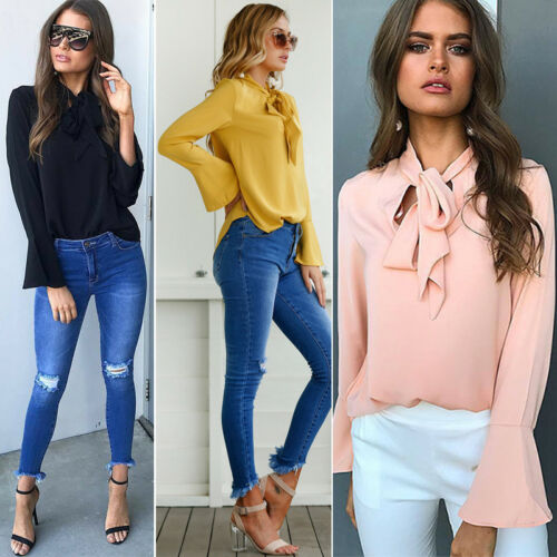 Womens Bell Sleeve V Neck Bowknot Loose Shirt Tops Blouse Wear OL Work Tee Tops