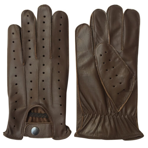 REAL LEATHER MEN/'S NAPPA FASHION UNLINED DRIVING GLOVES BROWN