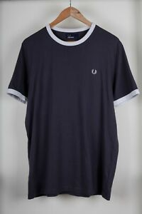 Fred-Perry-Men-039-s-Grey-Crew-Neck-Short-Sleeve-T-Shirt-Size-L