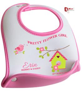 personalised flower girl bib cute bird design any name date