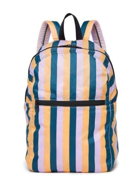 668a08215336 NWT BAGGU Ripstop Nylon Backpack PEACH 90'S STRIPE Compact Foldable Travel  Bag