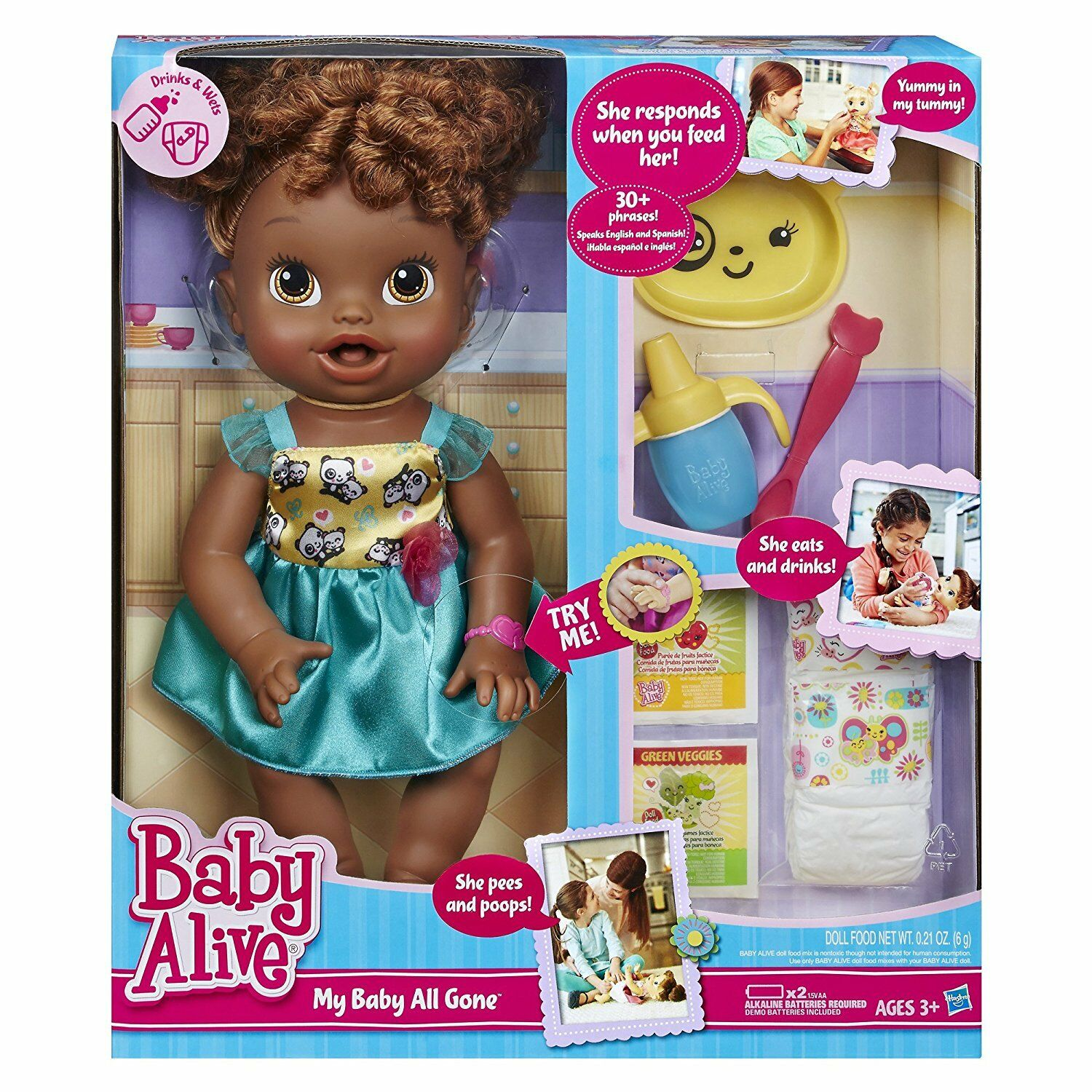 Poupée baby alive my baby all gone african american, africaine, créole, chocolat