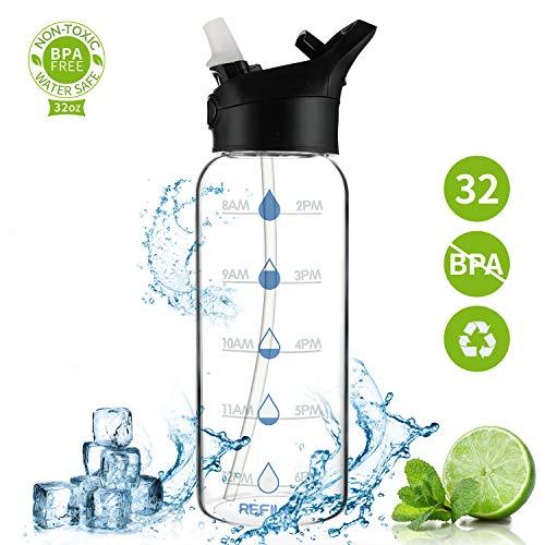 SHEEFLY Motivational Water Bottle 17oz//30oz//32oz BPA Free Straw 30OZ Black 1