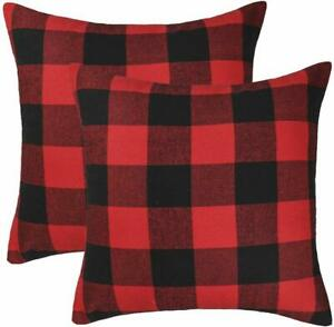 Set-of-2-Christmas-Plaid-Throw-Pillow-Covers-Cotton-Polyester-18-x-18-Inches