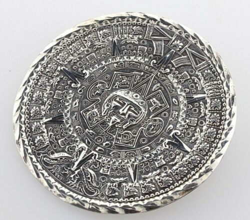 made in Mexico stamped Eagle 1 925, 8.74g 1.3 Dia str 1H Aztec Calendar Pendant Pin Vintage Sterling Silver