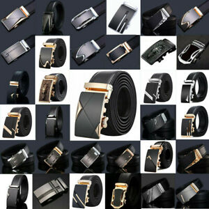 Fashion-Mens-Genuine-Leather-Ratchet-Belt-Automatic-Buckle-Waistband-Waist-Strap