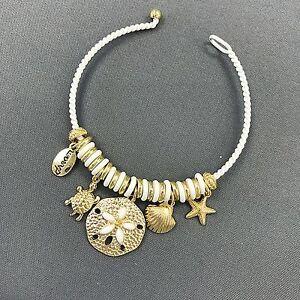 White Gold Starfish Clam Shell Turtle Sea Life Inspired Charm Bangle Bracelet Ebay