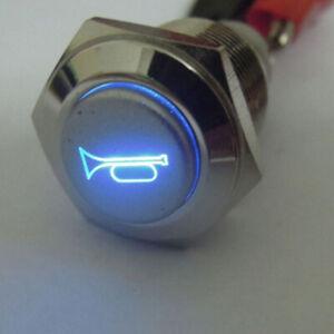 LED-Momentane-Bouton-Klaxon-Metal-Off-sur-Interrupteur-16mm-Poussoir-Eclairee
