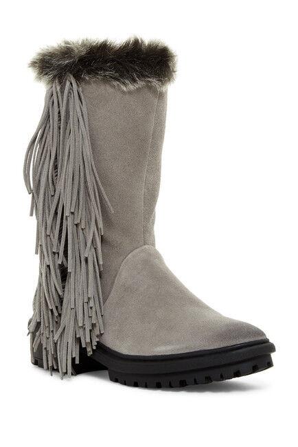 Sam Edelman Women's Gray Tilden Faux Fur Fringe Boot 7904 Sz. 5.5M