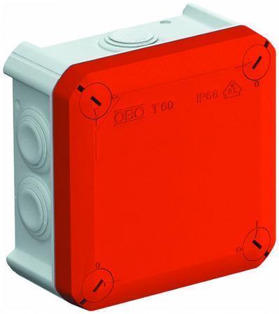 OBO Bettermann T 60 RO LGR Kabelabzweigkasten 114x114x57 PP Deckel rot