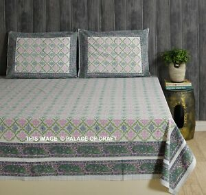 Indian-Cotton-Queen-Size-Hippie-Bed-Sheet-Comforter-2-PC-Pillow-Cover-Ethnic