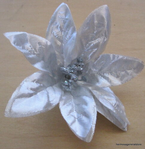 """Holiday 4/"""" Silver Poinsettia Poly Silk Flower Brooch Pin Christmas Party"""
