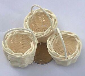 Échelle 1:12 3 fait main diamètre 3 cm en osier paniers tumdee Dolls House Food C  </span>