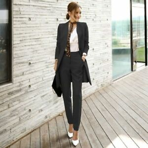 647e3aed1e Pant Suits For Women Blazer Set Business Office Work Uniform Long ...