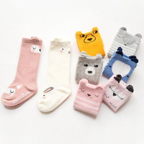 Toddler Kids Baby Cute Bear Fox Knee High Long Socks Cotton Casual Stockin Uylj