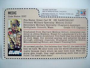 K180412 Doc Filecard Uncut Rouge Retour Gi Joe 1983 Mail Away Original Vintage