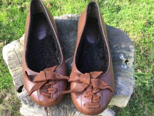 Miu Lined Flats 37 Lace Skinneskinn Ballet Bow Størrelse Brown TTqOR