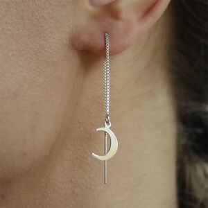 Image Is Loading 925 Sterling Silver Pull Thread Through Ear Moon