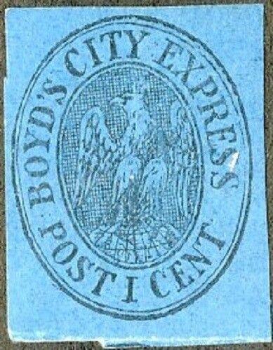 1866 1c Boyd's City Express Post, Black, Blue Scott 2OL