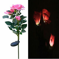 3led Solar Powered Rose Flower Garden Stake Landscape Lamp Outdoor Yard Light2