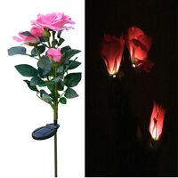 3led Solar Powered Rose Flower Garden Stake Landscape Lamp Outdoor Yard Light2