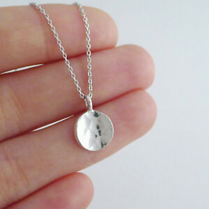 Solid-925-Sterling-Silver-Concave-Hammered-Round-Disc-Pebble-Circle-Pendant