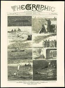 1875-Antique-Print-FRANCE-Cape-Grisnez-Channel-Captain-Boyton-Pigeons-168