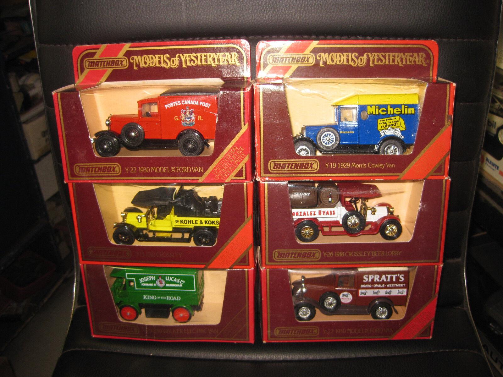 6 X MATCHBOX MODELS OF YESTERYEAR Y-29 2 x Y-22 Y-13 Y-19 Y-26  BOXED RARE