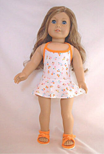 White Swimsuit with Small Orange Flowers  Fits 18 inch American Girl Dolls