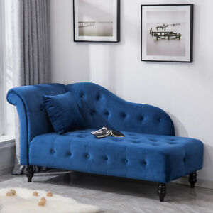 Image Is Loading Deluxe Blue Velvet Chaise Longue Sofa Day Bed