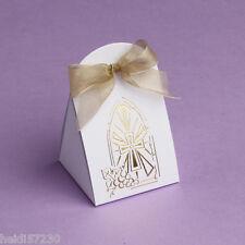 Lot de 10 boites à dragées iris communion croix dorée avec ruban